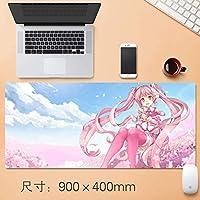 初音ミクゲーミングマウスパッド桜、ピンクの髪の大きなテーブルマットサイズ快適に感じるスリップロックノートパソコンのキーボードパッド虹初音ミクプロジェクトディーヴァアーケード将来トーン90 * 40センチメートル (サイズ : Thickness: 5mm)