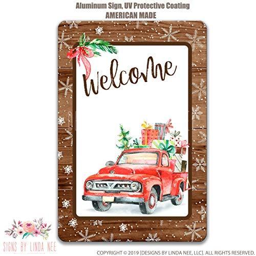Ced454sy Gift Kerstmis Teken Rode Vrachtwagen Teken Kerstmis Voordeur Decor Welkom Teken Kerstdecoratie Kerstdecoratie Rode Vrachtwagen Boerderij Gift