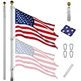 Yeshom Upgraded 30ft Telescopic Flag Pole Kit 16 Gauge Heavy Duty Aluminum Flagpole 3'x5' US Flag & Ball Top for Commercial Residential Outdoor