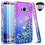 LeYi Hülle Galaxy S8 Glitzer Handyhülle mit Full Cover 3D PET Schutzfolie(2 Stück),Diamond Rhinestone Bumper Schutzhülle für Case Samsung Galaxy S8 Handy Hüllen ZX Gradient Purple Blue