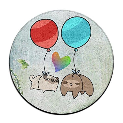 Ballon Paresseux et Carlin et cœur antidérapant Tapis Circulaire Tapis de Moquette Salle à Manger Chambre à Coucher Tapis Tapis de Sol 59,9 cm