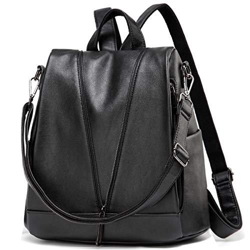 Kasgo Rucksack Damen, Diebstahlsicherer Wasserabweisend Kunstleder Rucksack Casual Daypack Elegant Handtasche für Frauen Hochschule Mädchen Reise Arbeit(Schwarz)