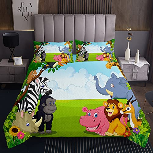Colcha acolchada para niños de dibujos animados de África con animales de vida silvestre de la selva animal león cebra jirafa mono cubrecama linda funda de cama 2 piezas