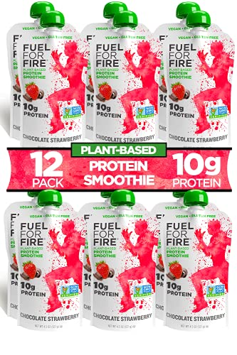 Fuel For Fire VEGAN - Chocolate Strawberry Smoothies (12 pack) Ready-to-Drink Squeeze Pouch | Soy Free, Lactose Free, Dairy Free, Plant-based Pea Protein, Vegan, Gluten Free | On the Go