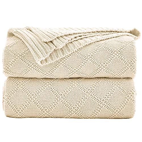 Shaddock Baumwolle Gestrickte Decke 4 Jahreszeiten Bettdecke- 130x180cm Ultra Weiche überwurf Decke Wohn-Kuscheldecke für Baby Couch Bett Sofa Stuhl Auto Büro (Beige, Rautenmuster)