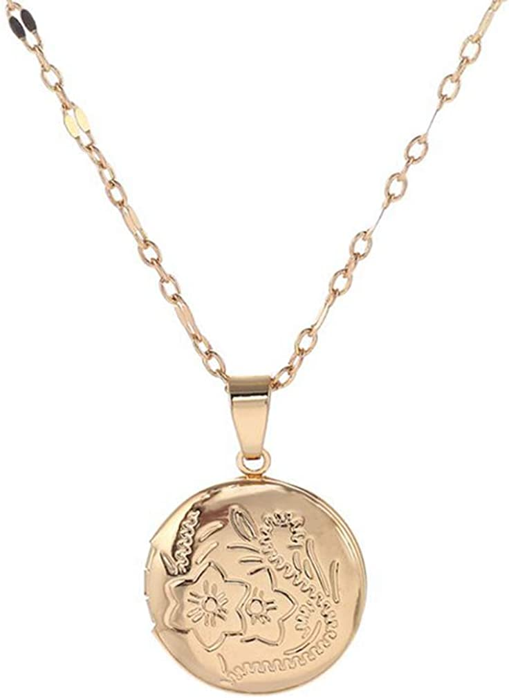 Heypin Engraved Flowers Locket Necklace That Holds Pictures Polished Locket Necklace Gifts for Womens
