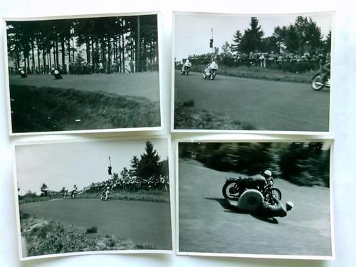 4 original Fotographien aus einem Motorradrennen (wohl Nürburgring ?)