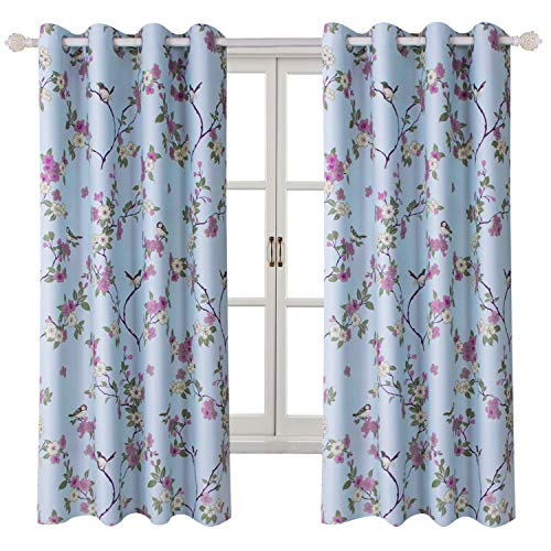 """Room Darkening Curtains for Girl's Room -Lucky Bird Vintage Printed Window Drapes with Flower Patterns, Metal Grommets Top, 2 Panels (52"""" Wx63 L, Blue)"""