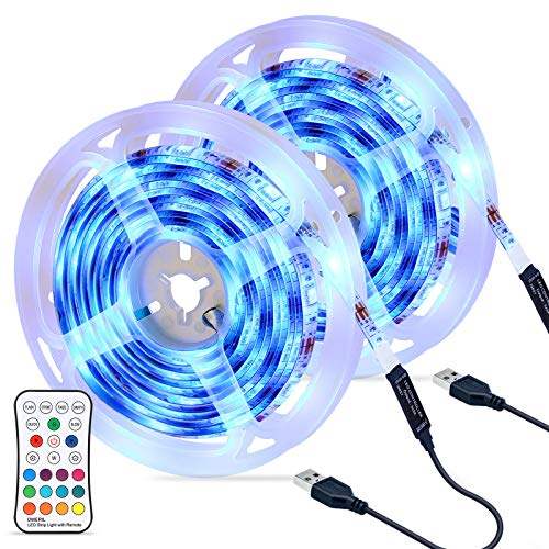 OMERIL Tira LED RGB 6M Impermeable, Tiras LED USB con Control Remoto, 4 Modos de Brillo y 16 Colores, Tira LED Regulable para Habitacion,...
