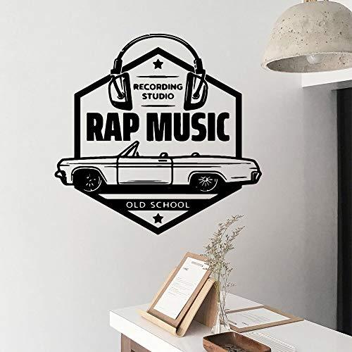 LSMYE Familie Rap Musik PVC Wandtattoos Wohnkultur Kinderzimmer Abnehmbare Wandaufkleber Diy Wohnzimmer Wandbild Decr Lila L 43cm X 44cm