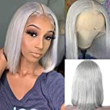 Smartinnov Grey Bob Wigs Human Hair T Part Lace Front Wigs 13x1x4 Middle Part Brazilian Remy Hair Straight for Women 8 Inch Pre Plucked Natural Hairline 180% Density Grey Frontal Short Bob Wigs
