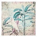Bilderwelten Cuadro de Cristal - Colonial Style Collage - Cockatoos and Palm Trees 30x30cm