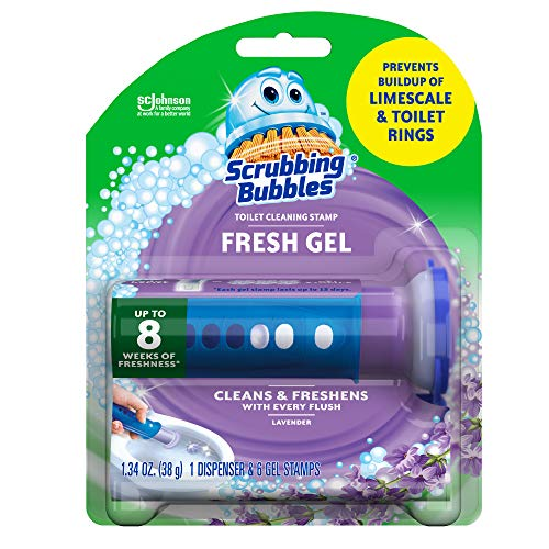 Scrubbing Bubbles Fresh Gel Toilet Bowl Cleaning Stamps, Gel Cleaner, Helps Prevent Limescale and Toilet Rings, Lavender Scent, 6 Stamps, 1.34 Oz