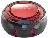 Lenco Boombox SCD-550 Red Tragbarer Cd-Player mit Discolichteffekt