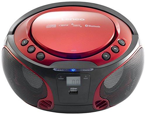Lenco Boombox SCD-550 Red Tragbarer Cd-Player mit Discolichteffekt, FM Radio, USB Playback, Bluetooth, Aux-Eingang, Kopfhörerbuchse Rot