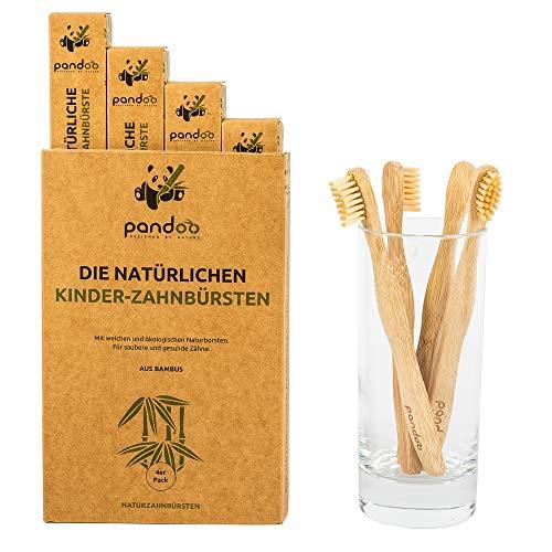 pandoo 4er Set Bambus Zahnbürste | vegan | BPA frei | Speziell für Kinder | Bio & Holzfrei | Bamboo Toothbrush