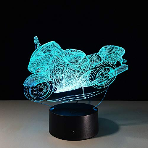 All Types of Cool Motorcycle Shape 3D Night Light Led Plate Lumine Bedside Table Lamp 7 Colors Lamp Touch USB Light Kids