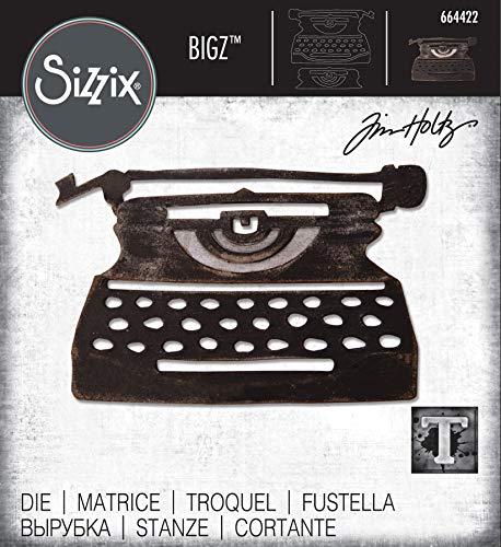 Sizzix Troquel Bigz 664422 Máquina de Escribir Retro by Tim Holtz, multicolor, Talla única