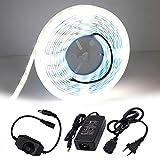 XUNATA - Set di strisce LED dimmerabili, 5 m, 12 V, SMD 5630, 600 LED, 5500 – 6500 K, flessibile, per cucina, stairway, bar, Natale, feste (bianco)