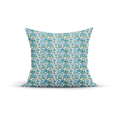 Funda de almohada decorativa, Doodle ilustración de mariposas y libélulas de la naturaleza, fundas de almohada para interiores al aire libre, fundas de cojín para sofá de casa, 45,7 x 45,7 cm