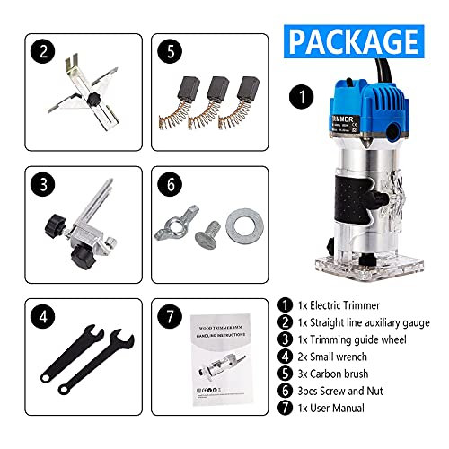 Wood Routers,Wood Trimmer Router Tool Compact Wood Palm Router Tool Hand Trimmer WoodWorking Joiner Cutting Palmming Tool 30000RPM 1/4