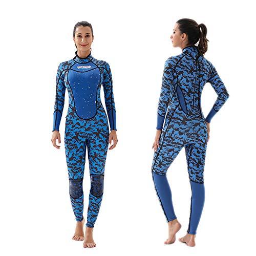 Traje de Neopreno de Una Pieza para Mujer, 3mm Neopreno Invierno Traje de Buceo de Surf Completo Estampado Wetsuit con Cremallera Trasera,A-XL
