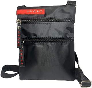 Bandolera unisex pequeña cruz cuerpo hombro utilidad viaje bolsa de trabajo negro