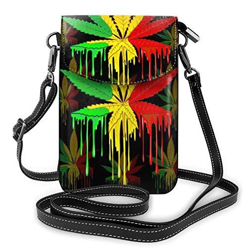 Hoja de marihuana Rasta colores goteo pintura pequeña Crossbody Bolsas teléfono celular monedero para mujeres
