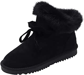 🍁 HebeTop 🍁 Fur Lined Womens Snow Boots Winter Lace Up Ankle Booties Shoes