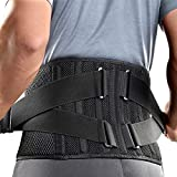 FREETOO Air Mesh Back Brace for Men Women Lower Back Pain Relief with 7 Stays, Adjustable Back Support Belt for Work , Anti-skid Lumbar Support for Sciatica Scoliosis (S(waist:27''-36''), Black)