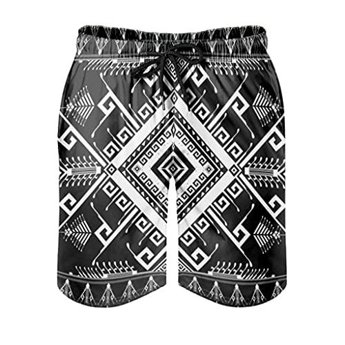 kikomia Pantalones cortos de playa para hombre con diseño de tótem indio con bolsillos, Hombre, Blanco, medium