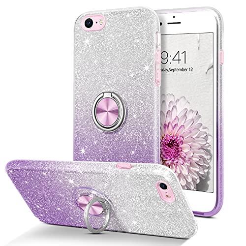 BENTOBEN Coque iPhone 6 Anneau Etui iPhone 6s Housse Ultra-Mince Support de Bague Glitter Slim Pailleté Antichoc Brillant Durable Résistante en TPU Anti-Chute Coque pour iPhone 6/6s, Violet dégradée