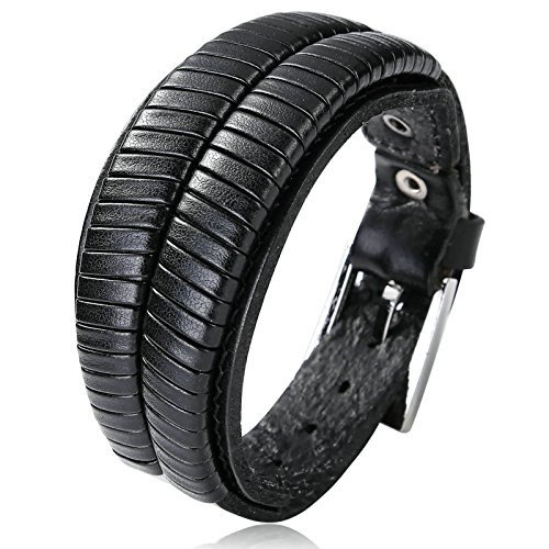Bishiling Lederamband Herren Armband Edelstahl Leder Breit Verstellbar Uhrenarmband Wickelarmband Armbänder Schwarz