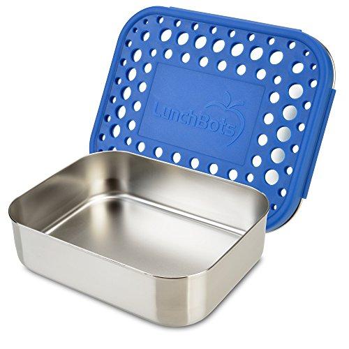 LunchBots Uno Edelstahl Nahrungsmittelbehälter – Offenes Design perfekt für Sandwiches, Wraps, Salate oder eine kleine Mahlzeit – Umweltfreundlich, Spülmaschinenfest und BPA frei (Blau)