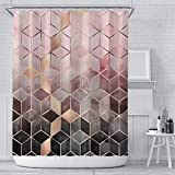 Verngo Marble Shower Curtain, Pink Ombre Waterproof Colorful Geometric Grid Bath Decor - 72 Inch Color2