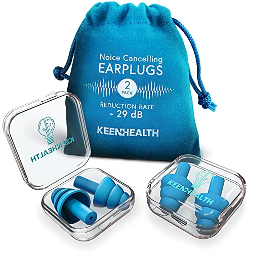 KEENHEALTH Reusable Silicone Earplugs for Noise Reduction/Sound Blocking, Noise Cancelling Ear Plugs for Shooting Range, Secure & Comfortable Ear Protection for Work, Waterproof Plugs for Swimming