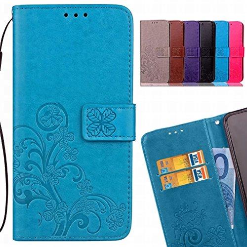 LEMORRY Handyhülle für Xiaomi Mi A2 (6X) Hülle Tasche Ledertasche Beutel Slim Magnetisch SchutzHülle mit Kartenschlitz Weich Silikon Cover Handyhülle Schale für Xiaomi Mi A2, Glücklicher Klee (Blau)