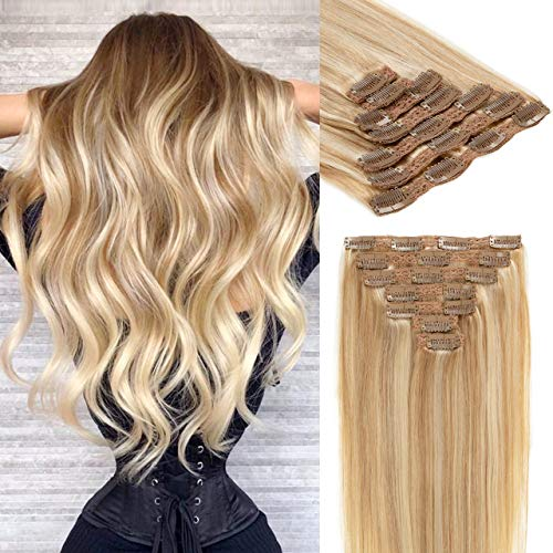 Lacer Clip In Human Hair Extensions Thicken Double Weft Remy Hair 120g 7pcs Light Golden Brown Highlight Platinum Blonde Full Head Silky Straight Clip in Extensions 14 Inch