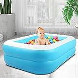InLoveArts Piscina Hinchable Cuadrada Juguete de rociado de Agua de Juego al Aire Libre de Verano para Familia niños bebé Adulto Segundo Anillo Azul Blanco Cuatro Tallas