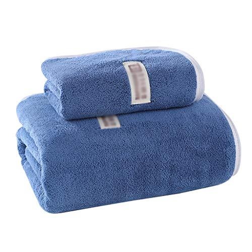 WYH Toallas de Mano Toallitas Paños Toallas de Baño Conjunto Resistente a la Decoloración Suave Algodón Toallas de Secado Rápido Deportes Playa Baño (Paquete de 2) Secado rápido (Color : Blue)