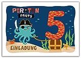 12 Einladungskarten zum 5. Kindergeburtstag Jungen Mädchen Pirat Piraten-Party