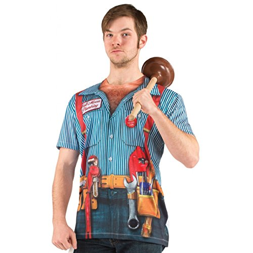 Faux Real Men's Halloween 3D Photo-Realistic Short Sleeve T-Shirt, Plumber, Small