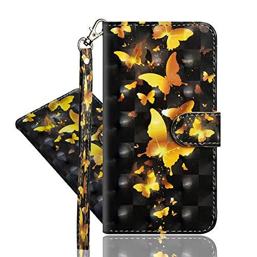 IMEIKONST Kompatibel mit Redmi Note 9 Pro 5G Hülle, 3D Muster Leder mit Kartenhalter Faltbare Tasche Handyhülle mit Standfunktion Brieftasche Schutzhülle für Redmi Note 9 Pro 5G. Golden Butterfly YX