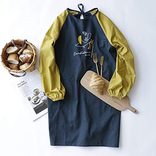 ZFFLYH Keukenschort, van puur katoen met lange mouwen creatieve kleur matching blouse bloemen restaurant keuken verlengde verdikte schort
