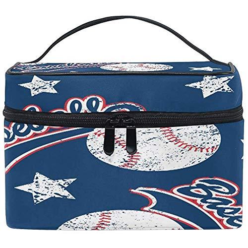 Grand sac de maquillage organisateur Vintage Baseball Sport Ball Print sac à cosmétiques sac de rangement de toilette poche à fermeture éclair sac de brosse de voyage