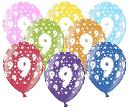 Libetui 10 kunterbunte Luftballons 9 Jahre Metallic 30cm Deko zum 9. Geburtstag Party Kindergeburtstag Happy Birthday Dekoration Nummer 9