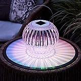 Lights4fun Farolillo Solar Transparente con LED Cambia Color para Exteriores