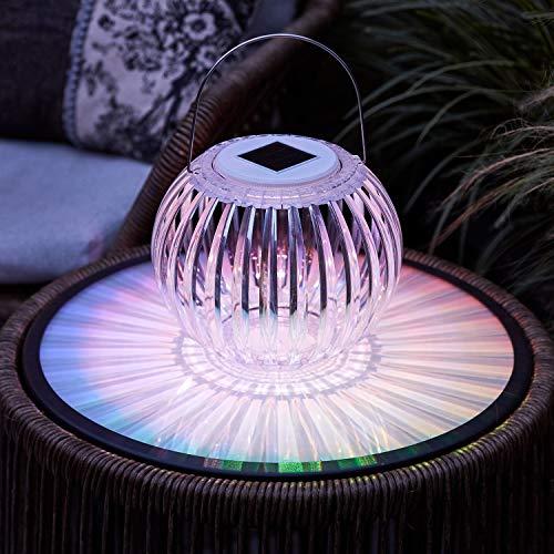 Lights4fun Solar Windlicht Gartenlaterne mit farbwechselnder LED