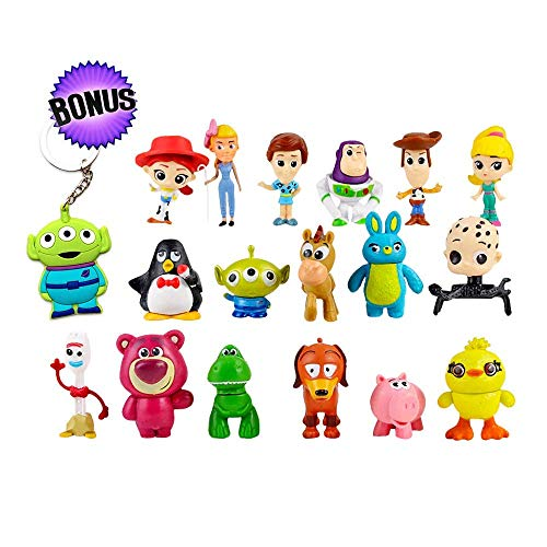 YFTTW 17 Pcs Mini Toy Story Action Figures Set of – Collectible Toy Store Cake Toppers – Great Party Favors for Toddlers – Action Figure Set with Keychain – Toy Story Birthday Supplies