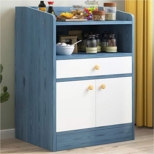 Hogar De pie Aparador Restaurante de la Esquina Inicio Mueble de la Sala Dormitorio Ensamble multifunción Estante de la Cocina Estante de Almacenamiento 51X30X80cm (Color : Blue Pine)